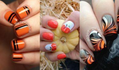 Оранжевый маникюр Хэллоуин
