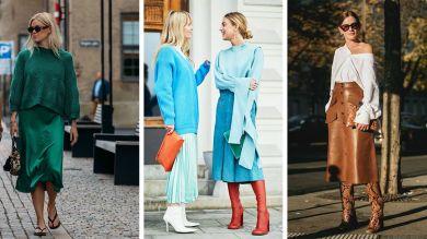 Стильные образы на осень с юбкой миди