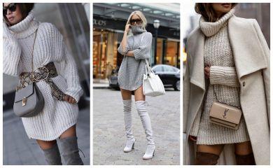 образы с платьем-свитером