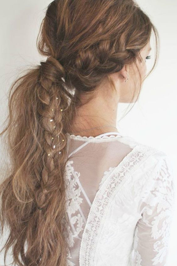 прическа хвост с косой