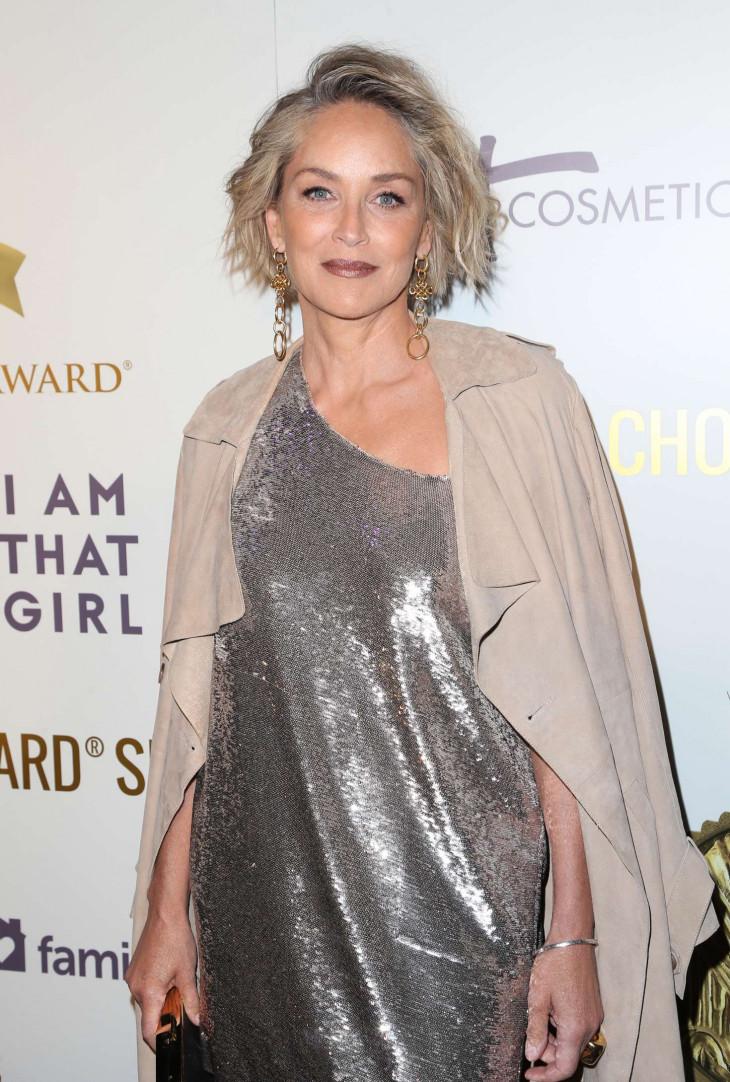 Шерон Стоун в серебристом платье