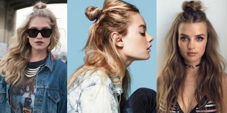 Пучок на распущенные волосы прическа тренд 2017 фото