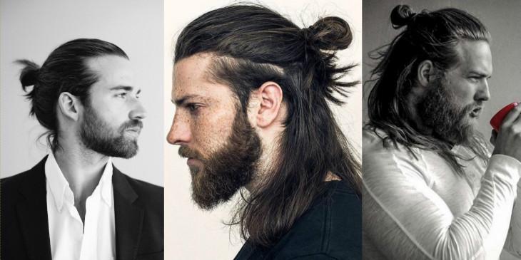 Пучок на распущенные волосы на мужчинах фото