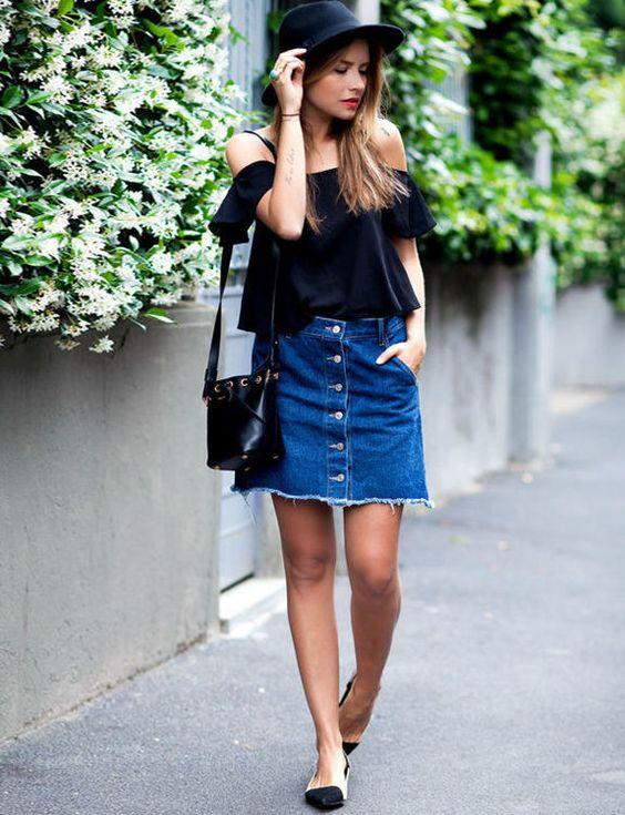 Сочетания джинсовой юбки с топом