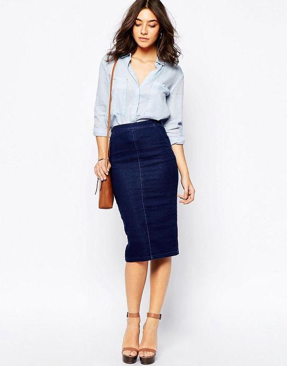джинсовая юбка-карандаш с чем носить