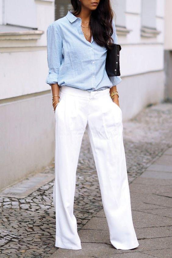 офисная одежда - голубая рубашка