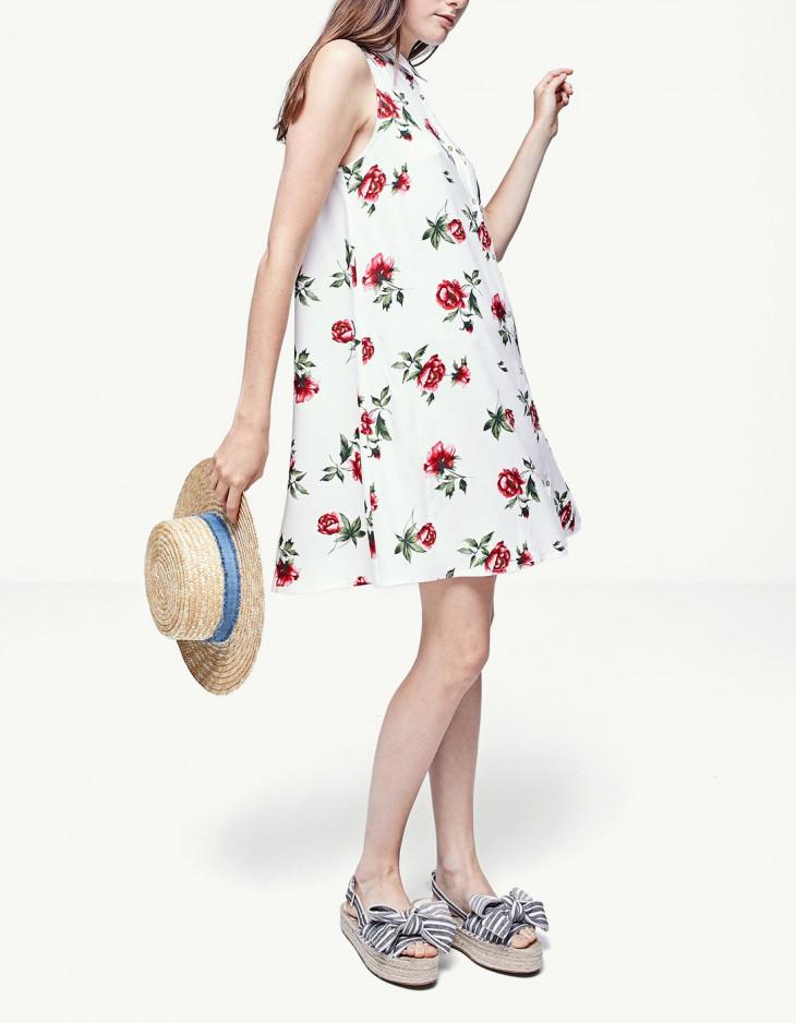 Белый сарафан с цветочным принтом от Stradivarius