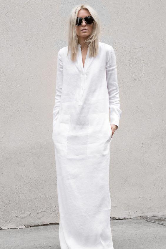 Белое платье-рубашка