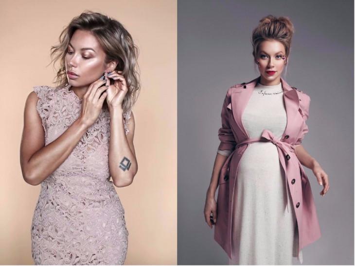 Полина Логунова до и и во время беременности