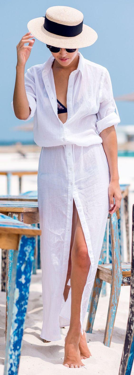 с чем носить платье рубашку на пляж
