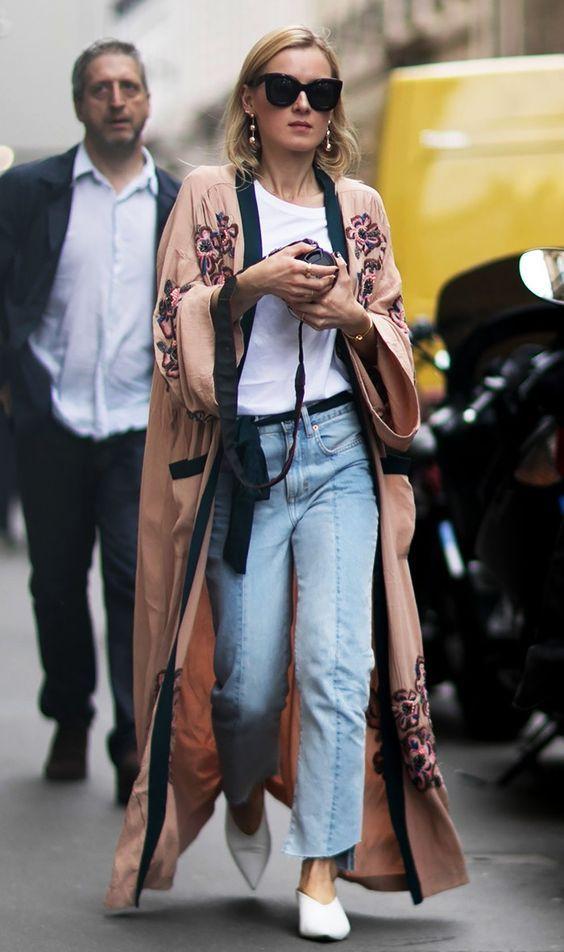 Сочетание кимоно и джинсов