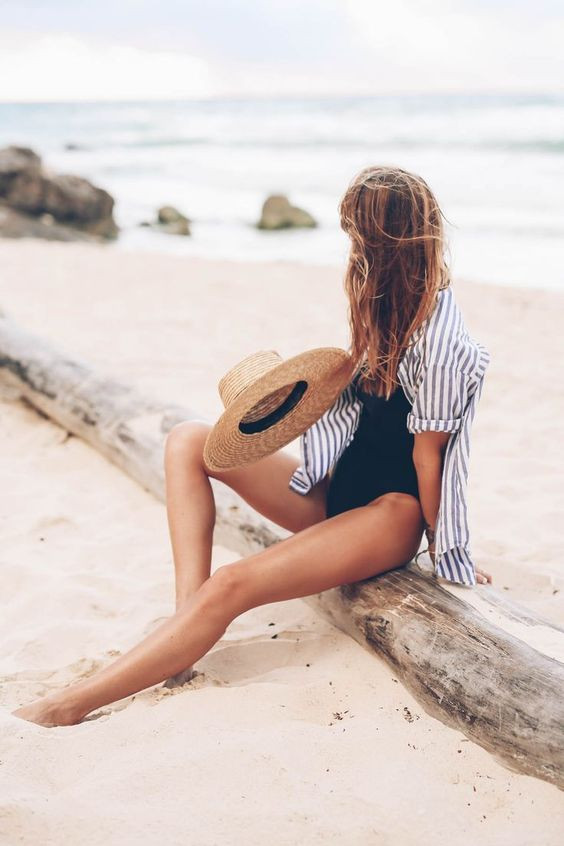Пляжный образ с рубашкой