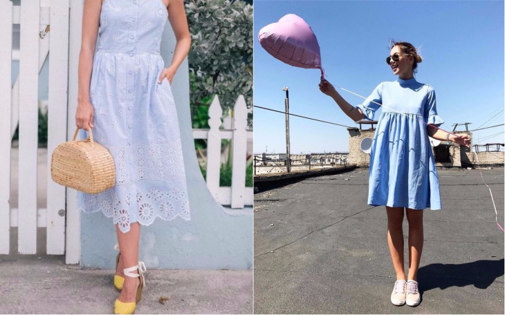 Голубое платье с чем носить