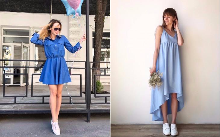 Модели летних платье голубого цвета