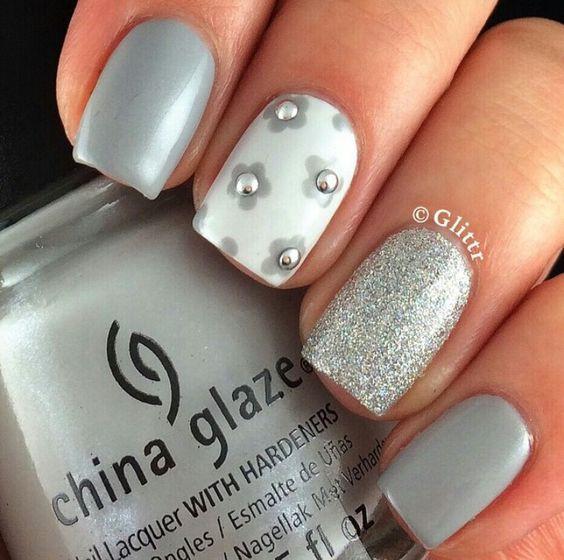 дизайн ногтей серым