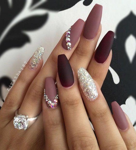 Бордо ногти матовые фото
