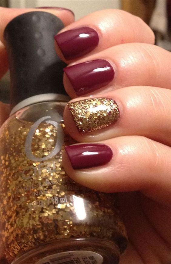 Бордовый маникюр с золотом на коротких ногтях
