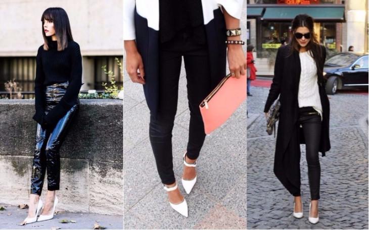 Белые туфли с черными брюками