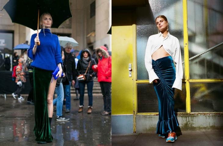 с чем носить длинную бархатную юбку