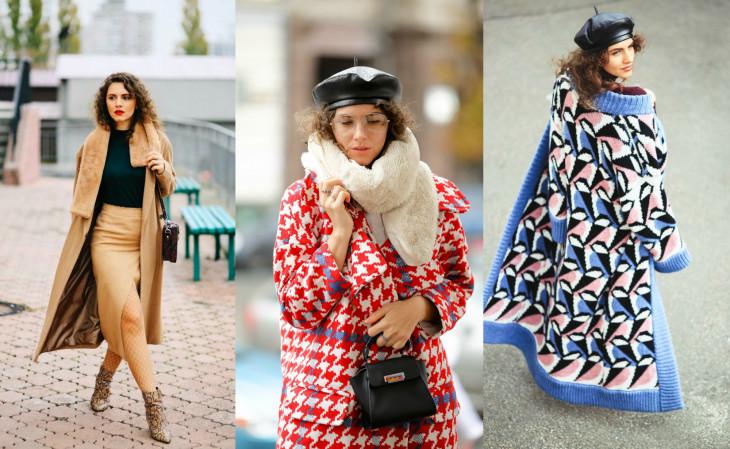 модные пальто 2018 как носить пальто оверсайз и вязаное пальто
