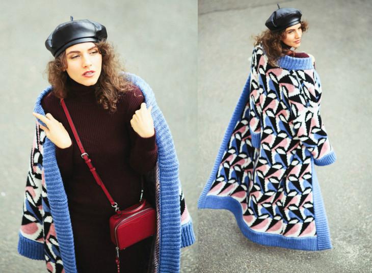 Вязаное пальто с чем носить