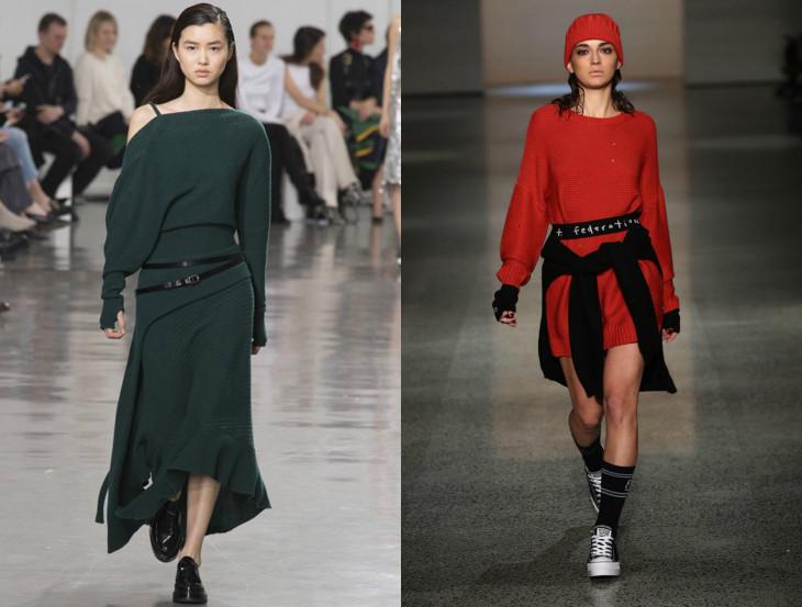модные вязаные платья 2018
