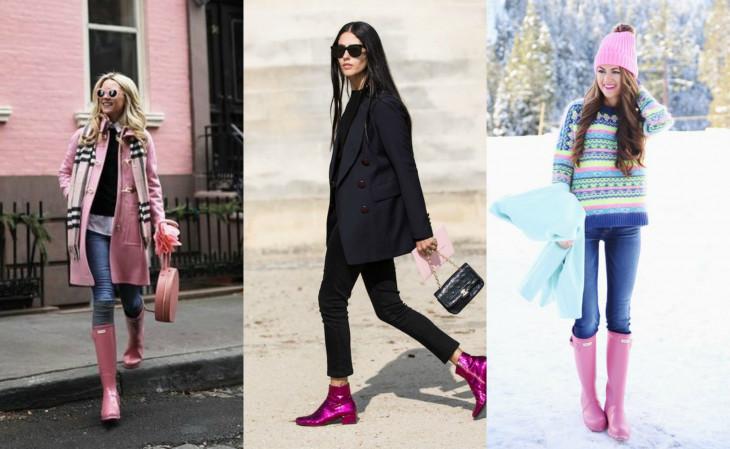 как носить розовую обувь зимой