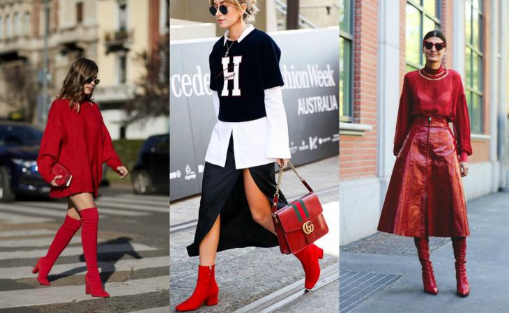 модные тренды 2018 - красные сапоги