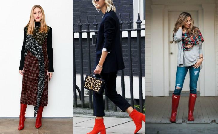 красные ботинки - как носить зимой