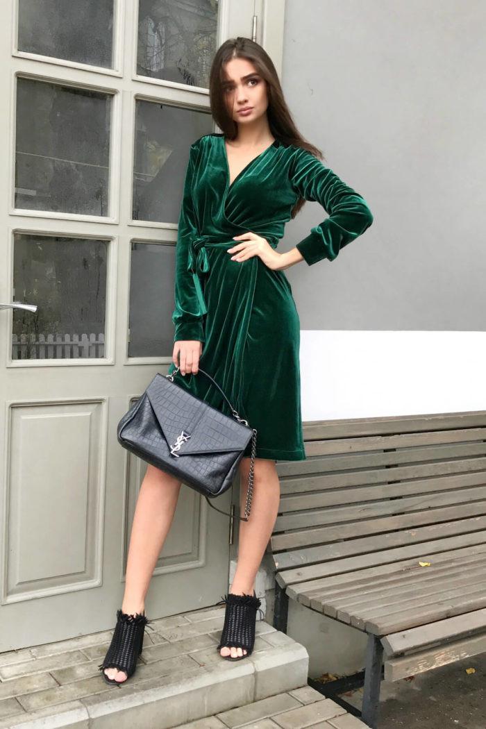 бархатное платье на новый год 2018