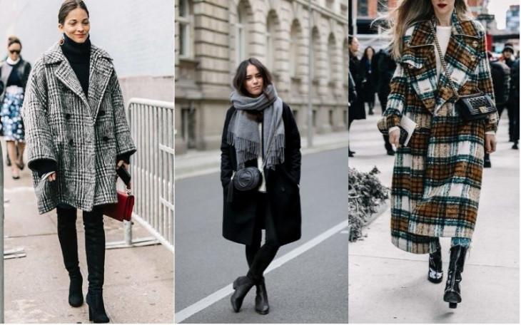 пальто оверсайз с черными сапогами