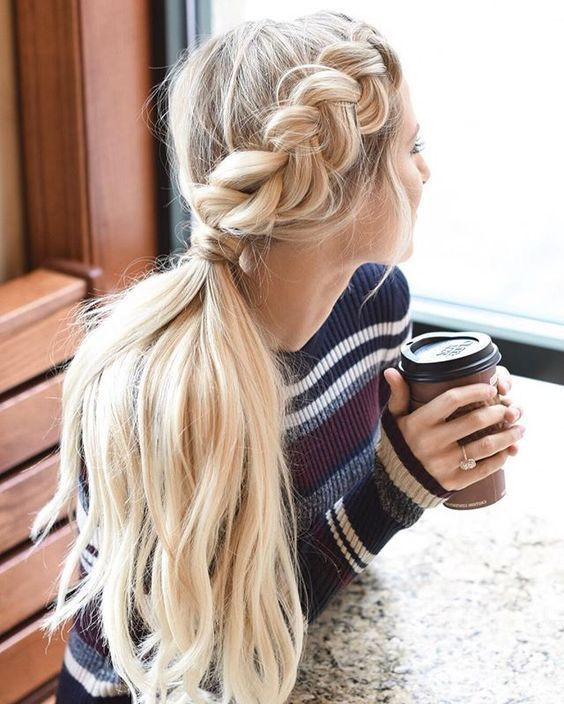 Хвост с косой - простая прическа