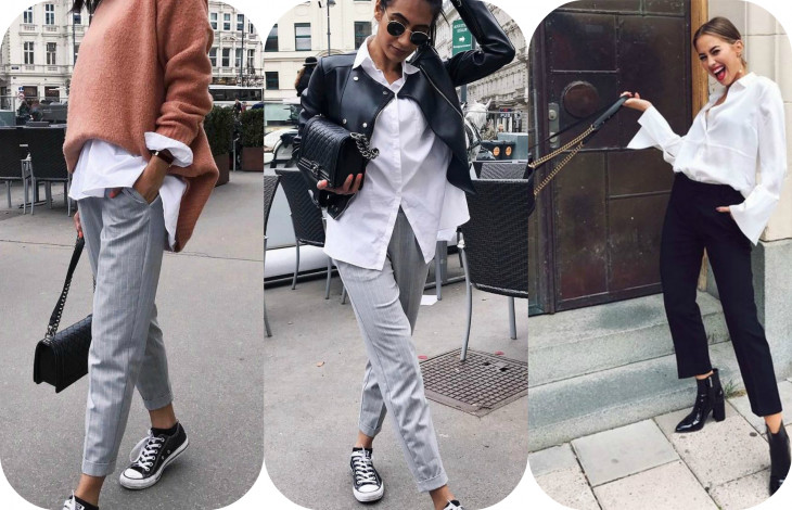 a17c9246cd7e Брюки, кеды, белая рубашка - прекрасное решение для стиля casual. Добавь к  луку еще парочку аксессуаров в виде очком и черную сумку cross-body.