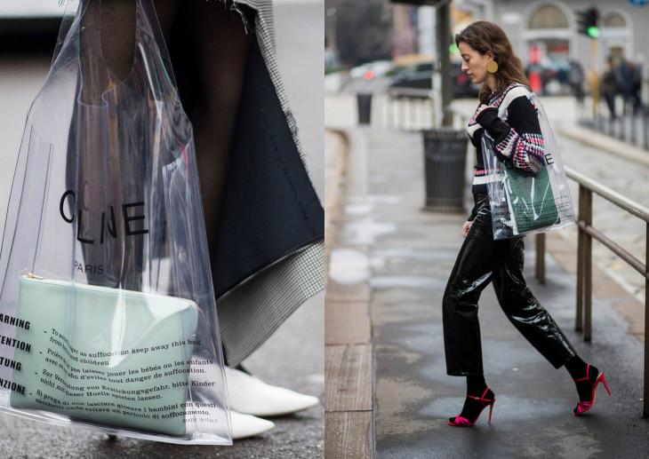 мода весна 2018 пластиковая сумка