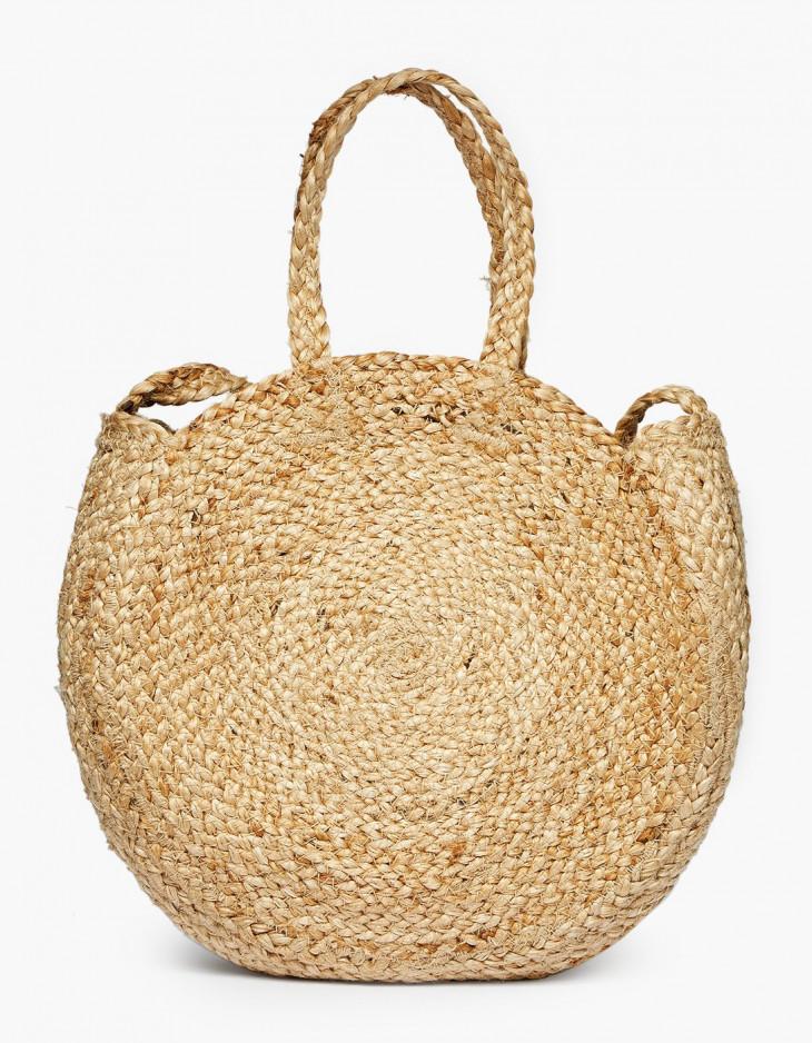 Соломенная сумка круглая