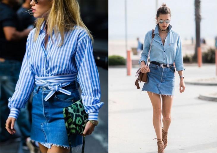 мода лето 2018 джинсовая юбка