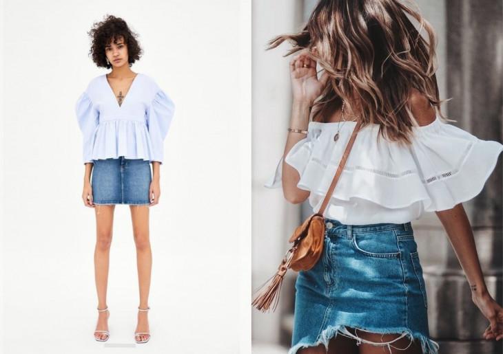 джинсовая юбка с чем носить летом