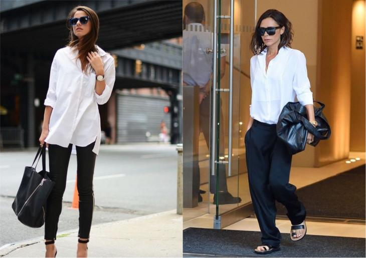 рубашка с черными брюками