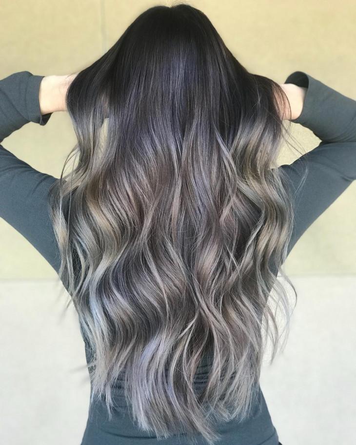 холодные оттенки блонда на темных волосах