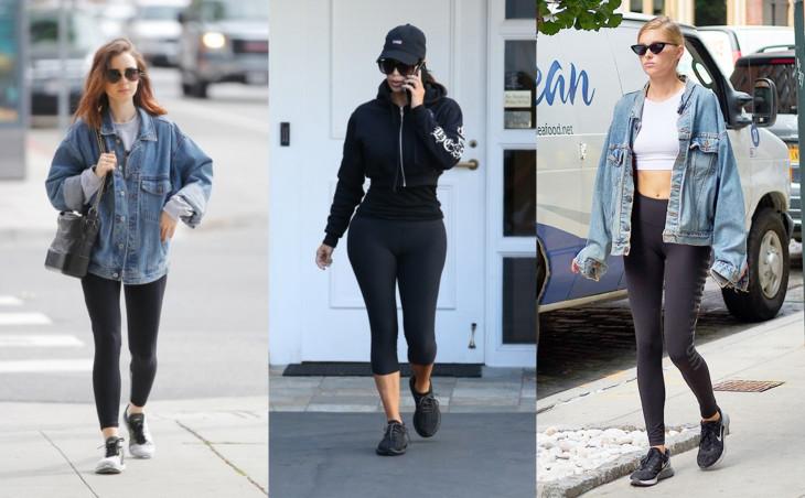 черные легинсы с джинсовкой
