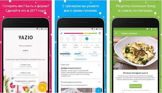 приложение для подсчета калорий yazio