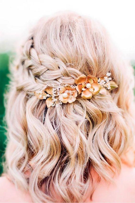 свадебные прически с плетением на средние волосы 1