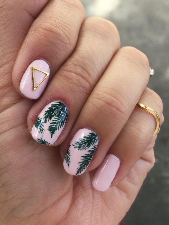 летний дизайн ногтей с листиками 2018