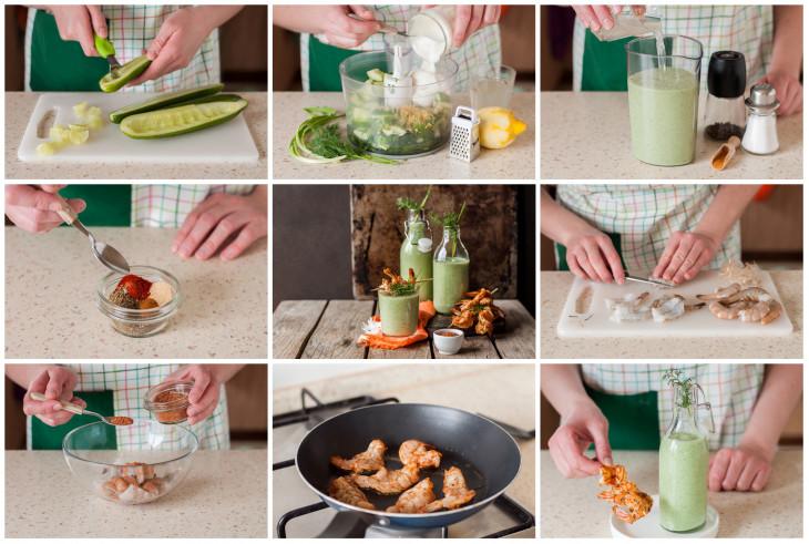 рецепты блюда из огурцов - креветки с огуречным соусом