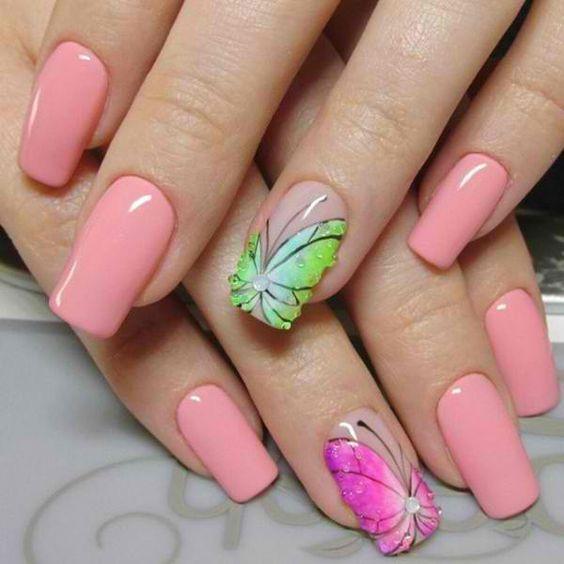 дизайн ногтей с бабочками 1