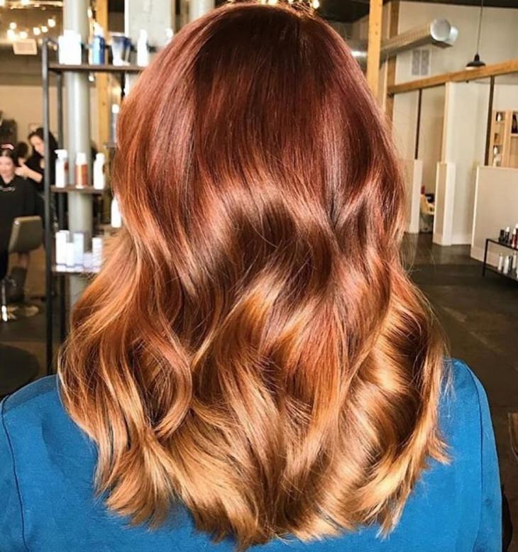 модный цвет волос осень 2018 - рыжий