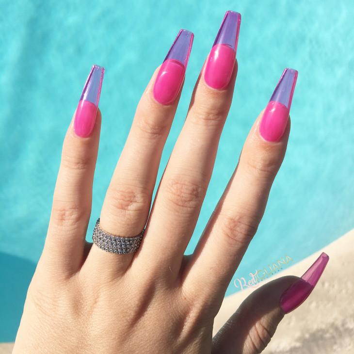 летний маникюр - ногти желе