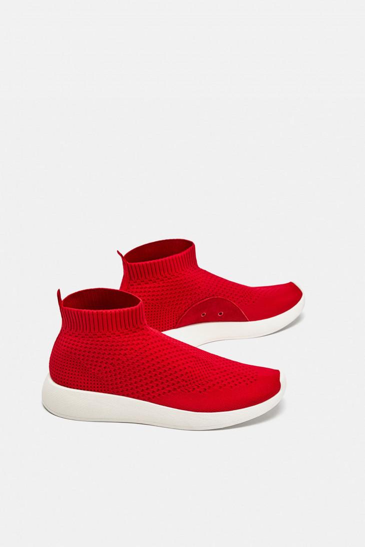 Кроссовки красные из ткани, Zara