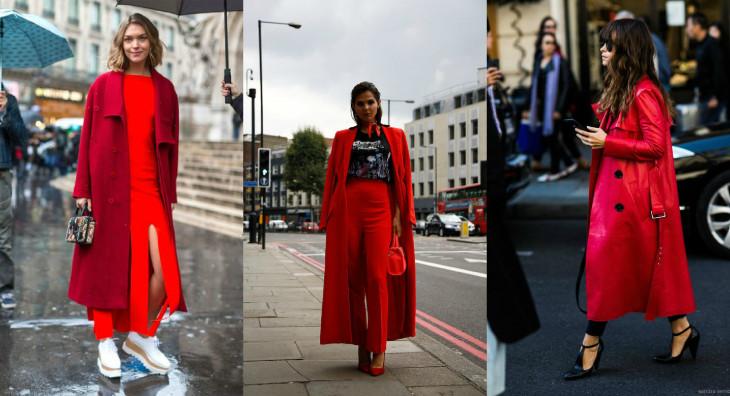 стильное красное пальто