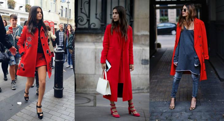 как носить красное пальто этой осенью